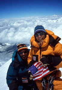 Susan and Phil on the summit of Mt. Everest.