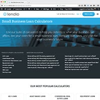 Lendio's Business Loan Calculators page