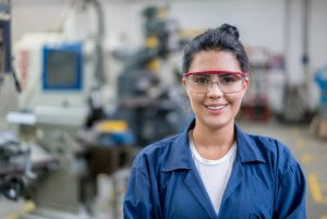 factory worker with safety glasses