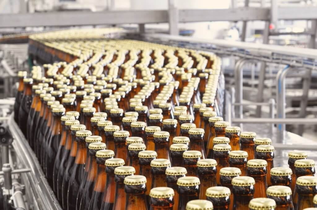 Beer bottles on conveyor belt