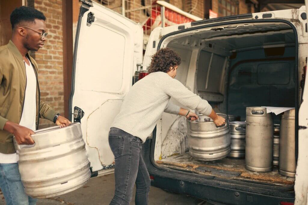 Loading beer into van