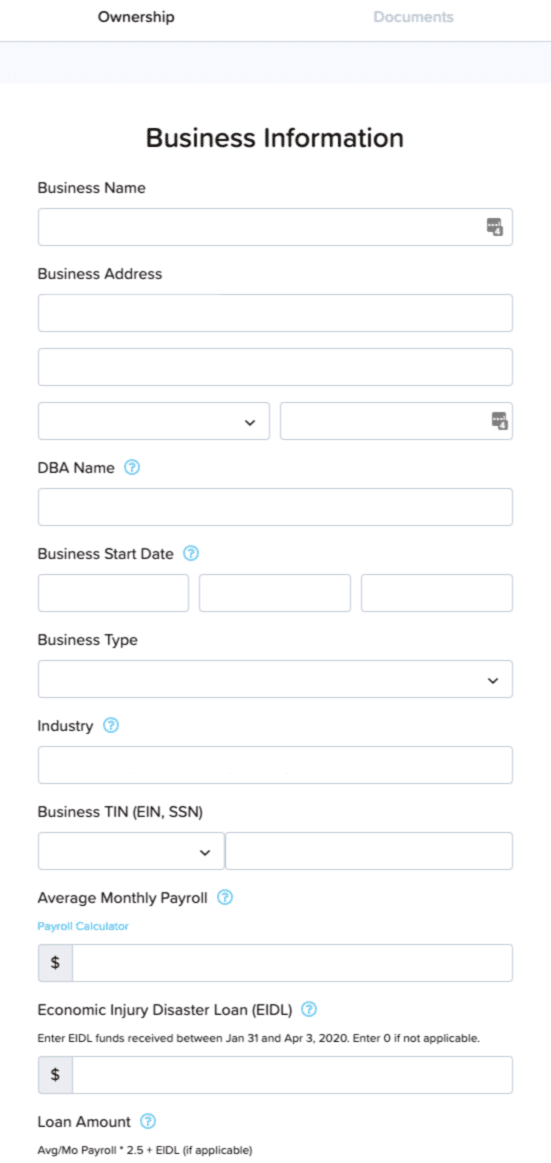 Confirming business info in PPP application
